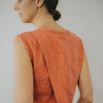 My design - the Anna Top in orange sold on mamaosa.co made of 100% linen.