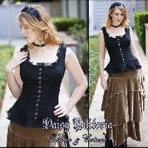 Black linen camisole with silver buttons and delicate lace edging. I was inspired by the look of...