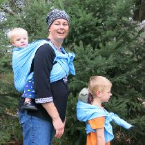 These baby wearing wraps were made from ETHEREAL BLUE linen.   A matching wrap for Mama to carry...