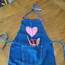 Marilyn, Child's art apron from jeans pant leg