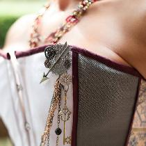 Custom wedding corset and skirt with handmade adornments.
