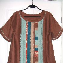 Another 'scrap buster' project, middle weight linen in fall colors and some linen print scraps,...
