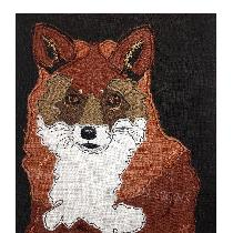 MR SLY the FOX - raw edge applique designed and stitched by myself using doggie bag linen pieces