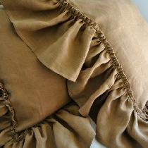 Floppy ruffled pillowcase, this is the medium weight ginger linen color, I cut it first serger a...