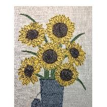 SUNFLOWERS - raw edge applique designed and stitched by me using doggie bag linen scraps