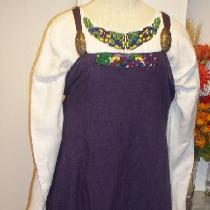The under dress was made in the Boskten style out of White medium weight linen. The hangeroc is...