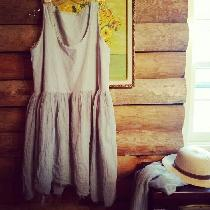 Cotton/Linen Shabby Country Dress, Hand Dyed