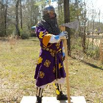 Stenciled fighting tunic.  4C22 in royal purple