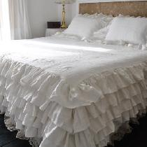 Linen ruffled coverlet  made with medium weight optic white linen, each row of ruffles has 3 yar...