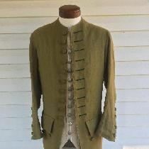 This is a 100% linen, mid-18th century, men's coat. It's design is adapted from a handful of 18t...