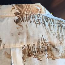 This is a shibori dyed shirt 100% linen up cycled using oak leaves. You can also see a print of...