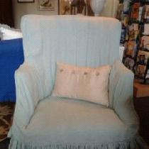 Mother's chair slipcovered in 019 linen