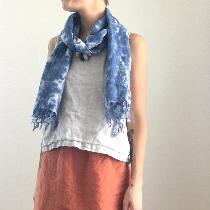 All Linen Outfit, Skirt: IL019 Rust, Top: IL019 Mix Natural, Scarf: IL020 Bleached hand dyed.