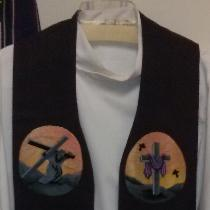This clergy stole for Lent was sewn on the heaviest weight deep purple linen, using designs by E...