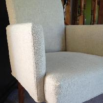 Slipcover for a Parson chair made with Softened Mixed Natural.  Full before and after photos can...