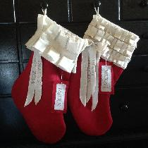Festive classic Christmas stockings. Created from red linen from the fabrics-store.com. These st...