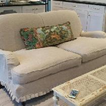Christy, Slipcover made with mixed natural linen.