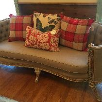 1920's Couch Reupholstered In Natural Linen by Samantha Gale Designs Owner/Designer Samantha Tho...