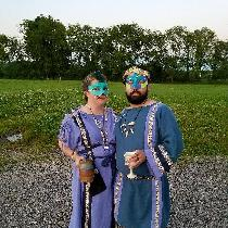 His & Hers Roman garb decked out and ready to attend a Masquerade ball!  Chiton (Hers) is Wister...