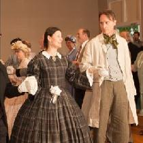 Tim dancing the Grand March in his: Natural Linen Frock Blue/White Check linen vest Green with w...