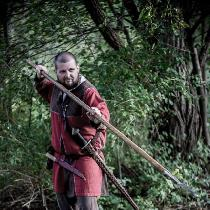 Viking era four gore tunic made in Biking Red and Chocolate IL019. All visible seams are top sti...