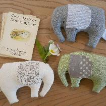 I designed and made these elephant baby toys from Fabrics-Store linen pieces, bought from the 'd...