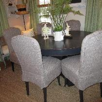 1910 dining chairs restored in the IL090 8oz. mix natural.