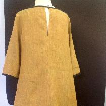 Back view of pullover flared lien dress.