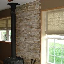 Handmade Roman Blinds in color Cement the fabric doubled instead of using regular lining so the...