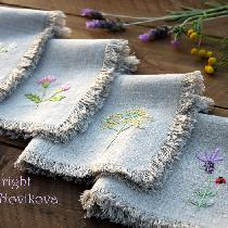 Marina, rustic linen... simple weeds and flowers...
