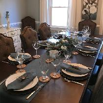 Bayou Blue Table Runner and Napkins for Thanksgiving Table