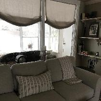 I made 2 slipcovers for my couches from 4C22 mixed natural . Also made the roman shades and pill...