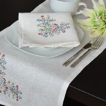I made this Table Runner - napkin  - Placemat set from IL019 BLEACHED 100% Linen. 