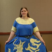 My very first Linen project! This is a heraldic tunic with hand embroidered details. Blue is 100...