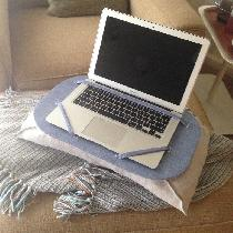Linen laptop lap desk.  Micro-bead pillow with flared sides easily molds to fit lap contours for...