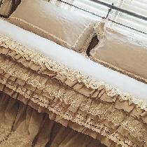 Daybed duvet cover was made with IL020 natural softened.  Three layer ruffles with lace overlay....