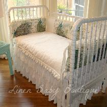 This is another view of the Peacock Linen crib set.