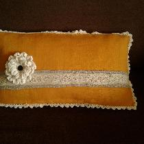 Fancy statement pillow - Medium weight autumn gold w/ natural linen, with antique heirloom lace...