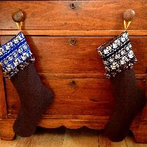 Newlywed Christmas stockings! Fabrics-Store.com linen stockings, lined with linen scrap fabric,...