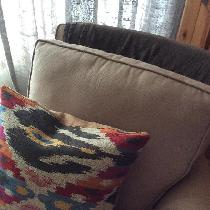 Kilim look pillow backed with linen
