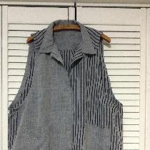 Yarn dyed, coordinating, original design casual vest/smock.
