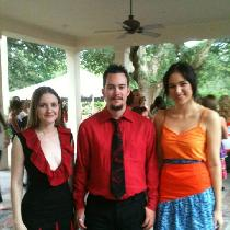 Far right: dress made from ILO19 Black and ILO41 Ruby. Middle: shirt made from 4C22 Crimson.