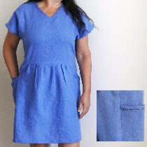 2 yards of IL019 Wisteria was used to make this self-drafted dress. I used a decorative stitch o...
