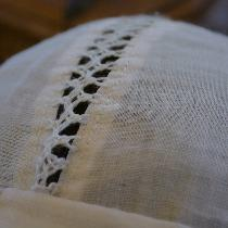 Detail of St. Brigitta's cap made from IL020 Linen.