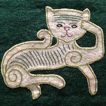 Cat panel inspired by the Oseberg cart carvings from Viking age Norway.  Embroidery done with si...