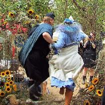 Bride and groom, Viking wedding briom jump (not a viking tradition but hey...)