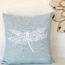 Pillow Cover with Dragonfly Screen Print