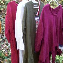 Multicolor linen garments, all handmade by me