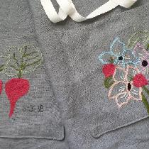 Matching set of aprons made for a wedding gift. The groom is a chef and the bride, an organic ga...