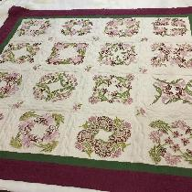 Machine embroidered quilt using 3 colors of IL019